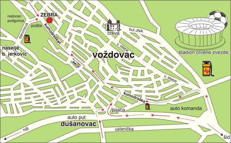 mapa beograda voždovac Štamparija Zebra   KONTAKT   štampa vizit karti, memoranduma  mapa beograda voždovac